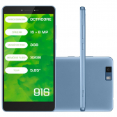 Smartphone Mirage 91S 4G Octa Core 3Gb Ram Dual Camera 16+8Mp Tela 5.85´´ Dual Chip Android 6 Azul 1003 Mkp000278002678